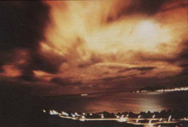 The Starfish Prime blast, as seen from Hawaii in 1962. Source: Wikipedia