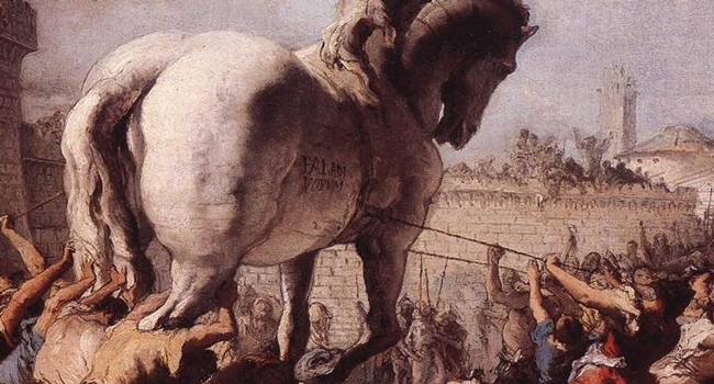 Detail from The Procession of the Trojan Horse in Troy by Domenico Tiepolo (1773)